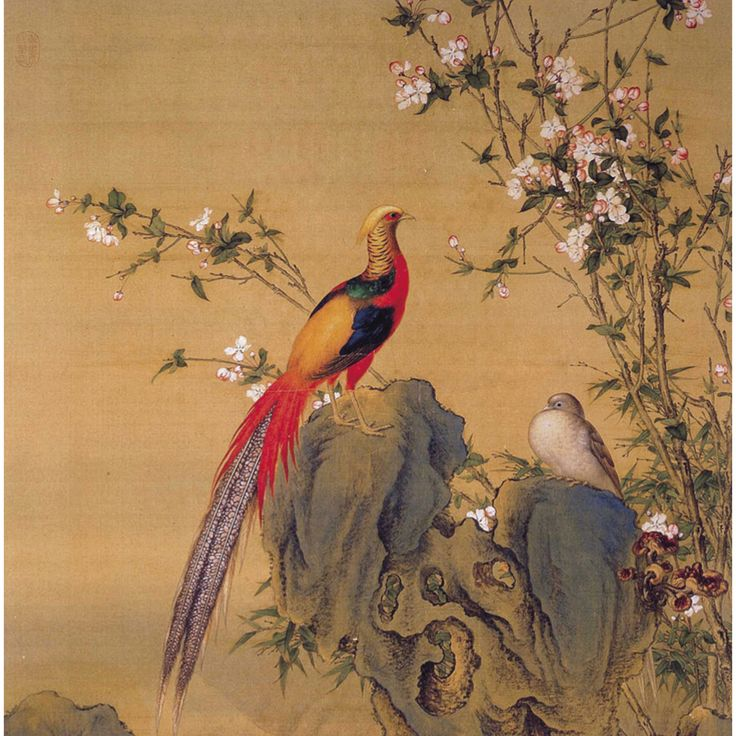 Lang Shining (郎世寧, 1688-1766), Qing Dynasty (1644-1911), Brocade of Spring. Hanging scroll, ink and color on silk, 169.2 x 95.2 cm, National Palace Museum, Taipei