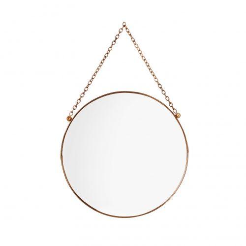 Round Copper Hanging Mirror | Oliver Bonas