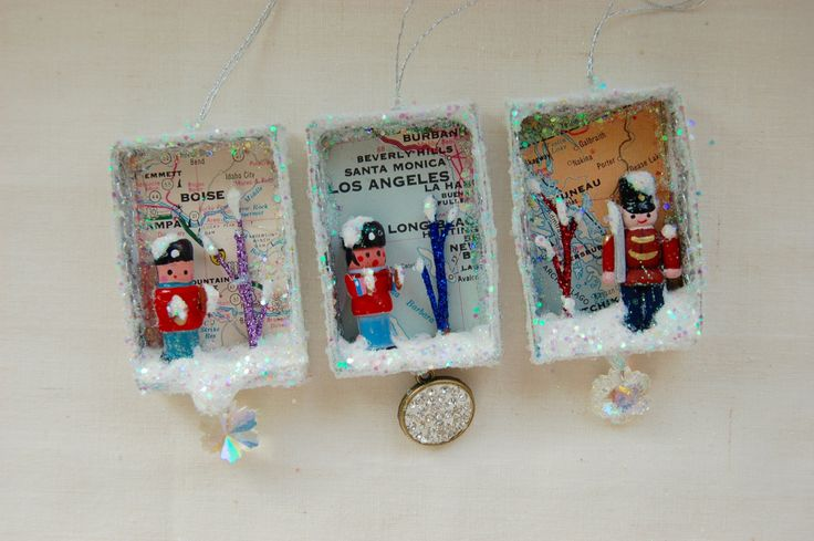 Upcycled Matchbox Ornament w Vintage 1973 Map Los Angeles Juneau