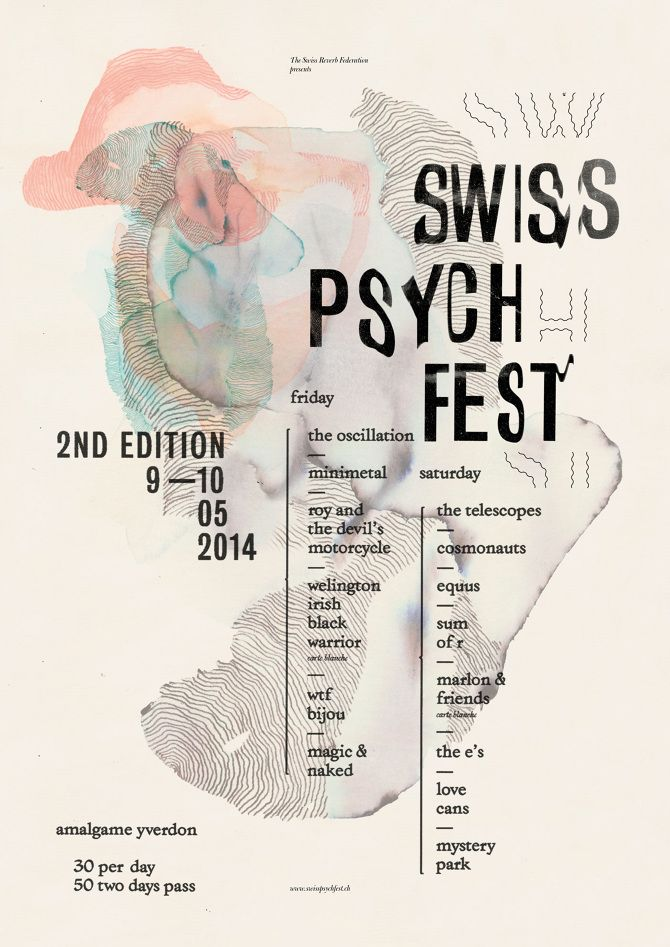 SWISS PSYCH FEST 2014 Gaël Faure  music, festival, typography, graphic design…
