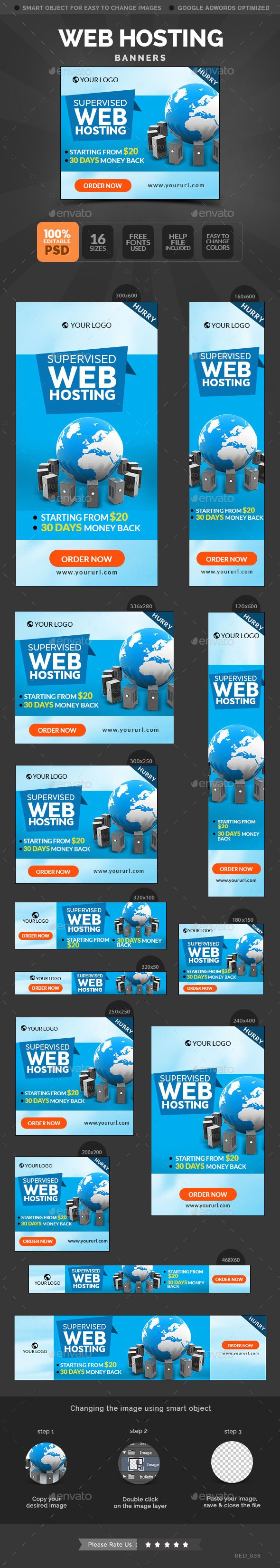 Web Hosting Banners Template #webbanners #design Download: http://graphicriver.net/item/web-hosting-banners/10799498?ref=ksioks
