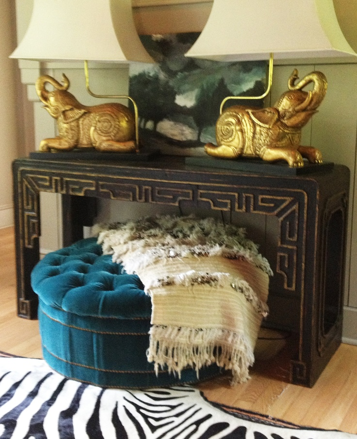 Chinese Console Table: Ebay. Elephant Lamps: Local
