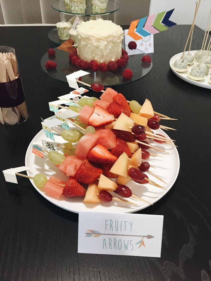 Fruit kabobs are a great party food. It seems less messy than a bowl of fruit that has to be spooned into some kind of cup.