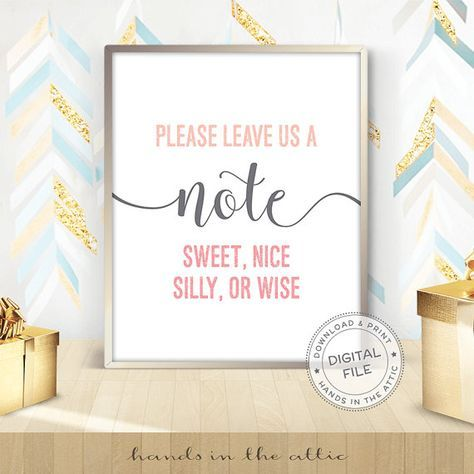 Please leave us a note guestbook sign best wishes sign reception table wedding welcome wedding day guest book visitor book DIGITAL by HandsInTheAttic