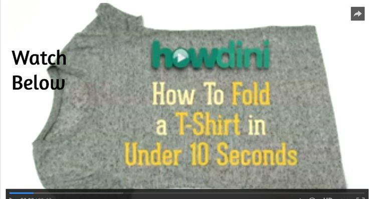 Ever wondered how they fold shirts so quickly in department stores? I know I have, seriously, how can they fold full displays?  How to Fold a T-Shirt in Under 10 Seconds… by Howdini Use the share buttons to show your friends…