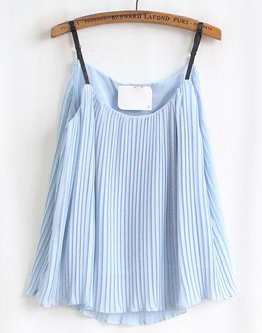 Blue Pleated Chiffon Vest - Sheinside.com