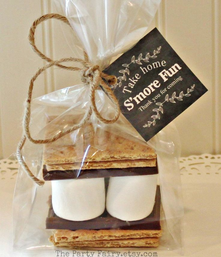 S'mores Party Favor Kits, 12 S'mores Favor Kits with Chalkboard Tag