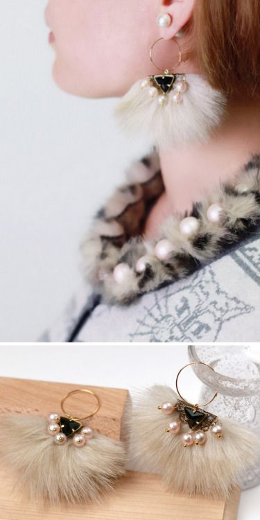 DIY Faux Fur Pearl Earrings Tutorial from Small Good Things. Excellent and easy to understand step-by-step tutorial for earrings you won't be seeing at Forever21.    Pair them with Emi's DIY Faux Fur Pearl Necklace here.
