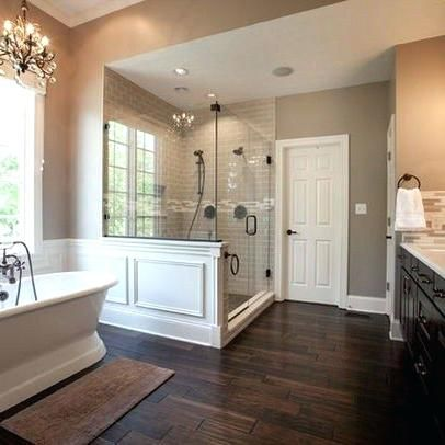 image result for bathrooms with dark floors and white tile