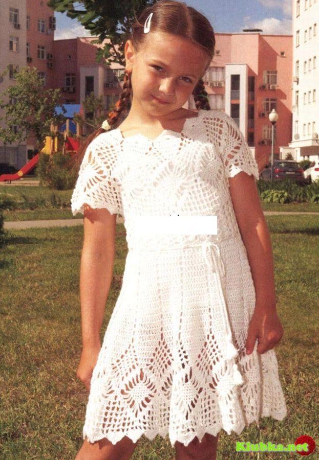 Платье с круглой кокеткой крючком » Клубка.Нет - Все о вязании крючком