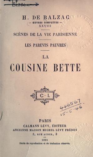 """""""La cousine Bette"""" by Honoré de Balzac 1846"""