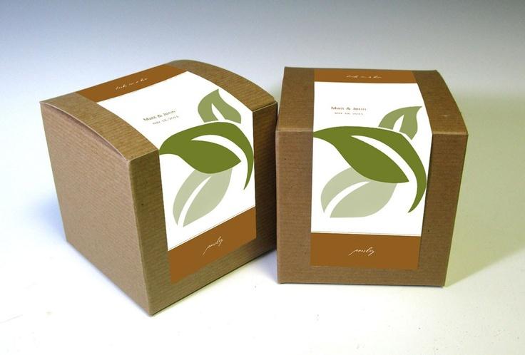 Eco-Friendly Herbs in a Box Wedding Favors. $45.00, via Etsy.