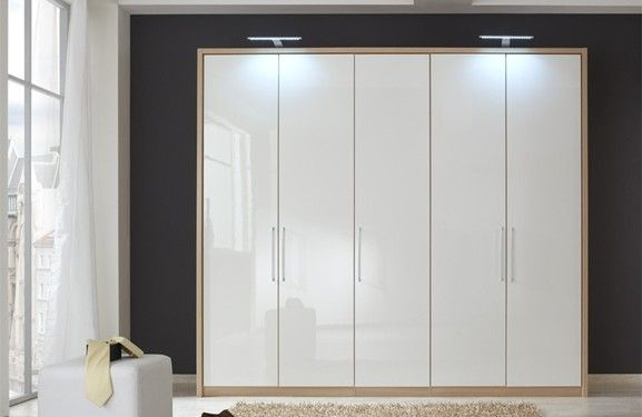 250 Cm White High Gloss Wardrobe With Oak Carcass And
