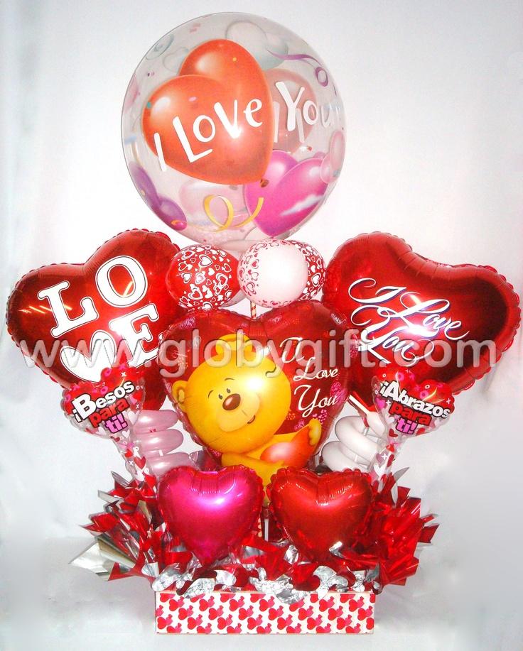 Arreglo con globos para celebrar este 14 de febrero