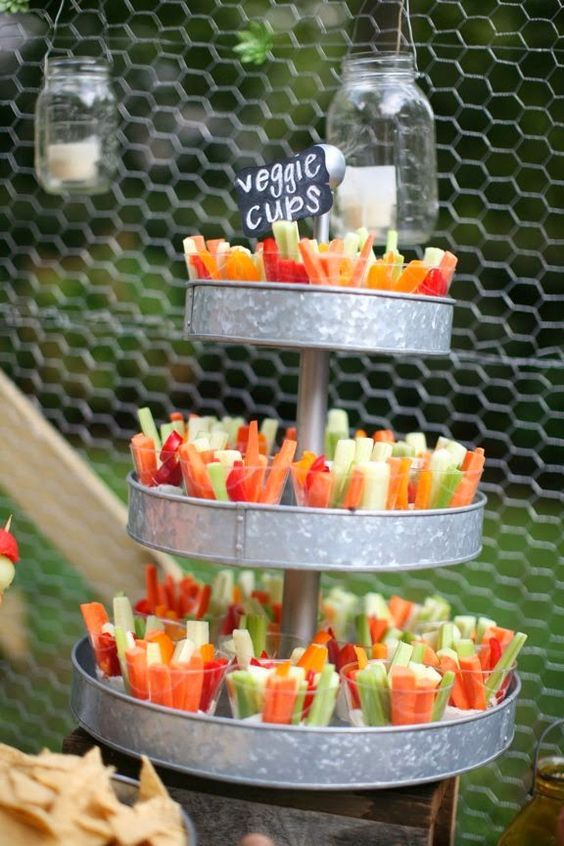 veggie cups in tin tier stand