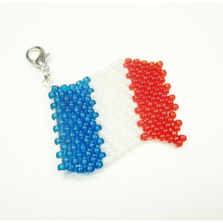 Einhänger - Schlüsselanhänger Frankreich Flagge aus Miyuki Glasperlen - WM 2014 - Fanartikel