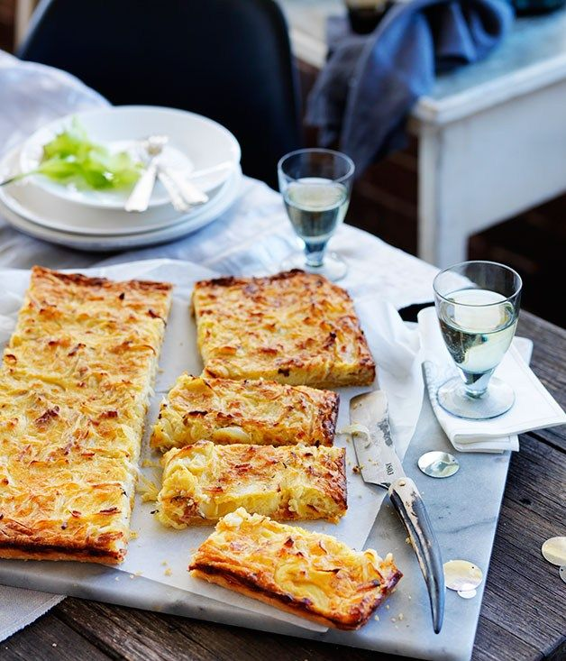 Onion and sour cream thin-baked slice recipe | German recipe | Martin Boetz recipe - Gourmet Traveller