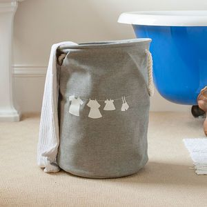 French Grey Washing Line Print Laundry Drawstring Bag - laundry bags & baskets