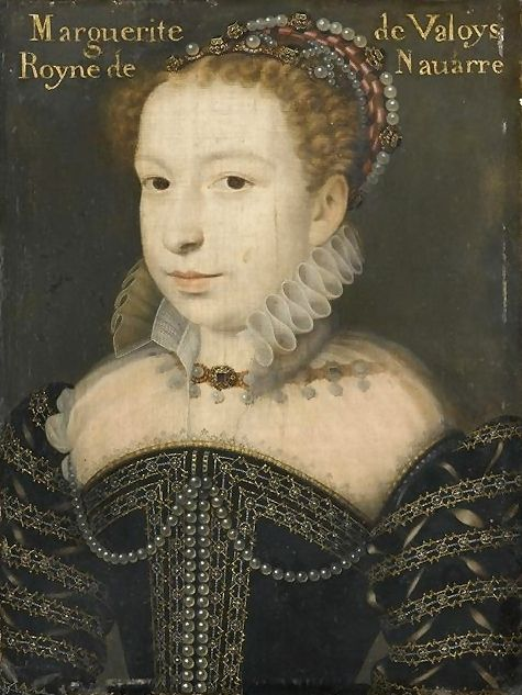 1572 Margot, daughter of Catherine de Medici and Henri II of France by Clouet. Married to Henri of Navarre who later became King of France after three of her brothers had short lived reigns as kings.