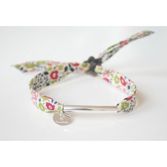 """Bracelet en tissu liberty """"Fairford"""" multicolore avec tube en argent"""