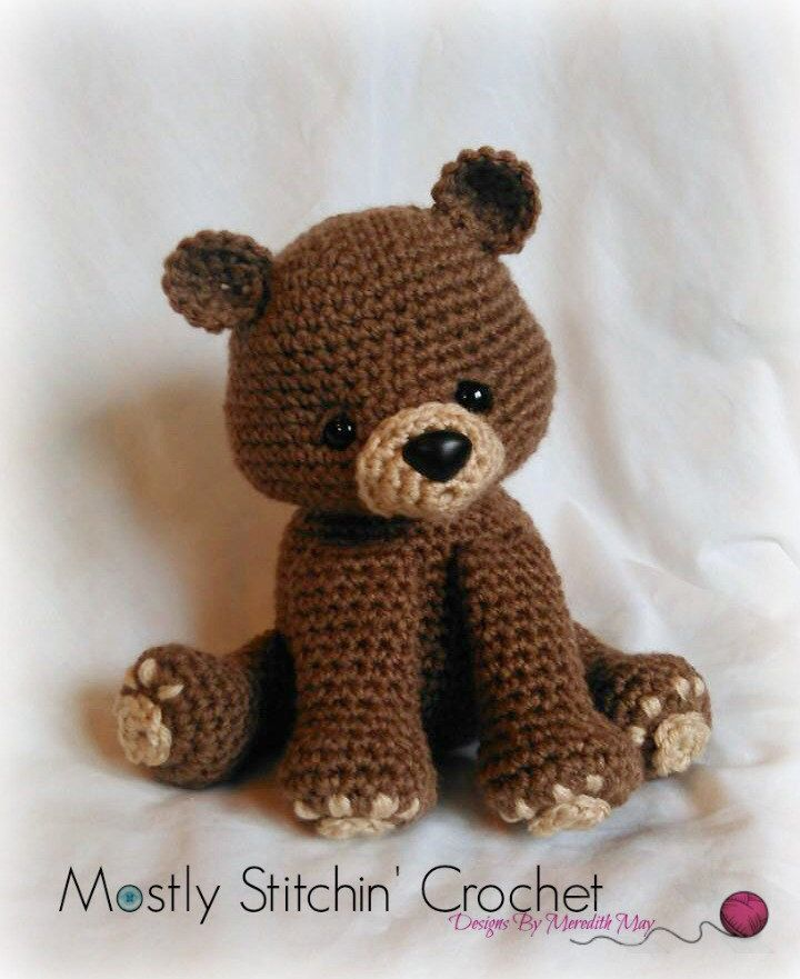 Bear Crochet Pattern; PDF; Black Bear, Brown Bear, Polar Bear by MostlyStitchin on Etsy https://www.etsy.com/uk/listing/288562057/bear-crochet-pattern-pdf-black-bear
