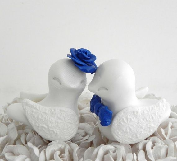 Love Birds Wedding Cake Topper White And Royal Blue By LavaGifts 6200