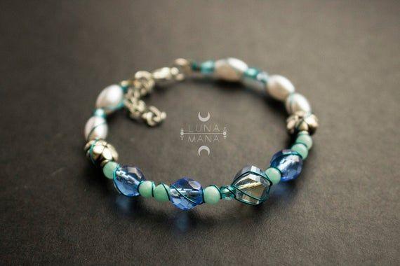 Bracelet de Labradorite Litho Argent 925 Perles Naturelles Femme Boite Cadeau