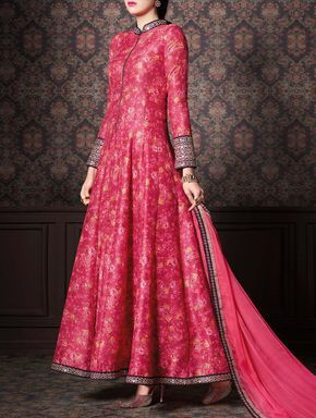 Aadya Couture pink gown style embroidered salwar suit