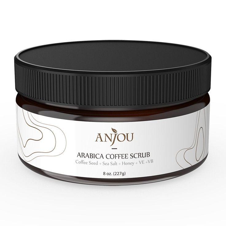 Anjou Arabica Coffee Scrub with Honey, Sea Salt, Jojoba Oil (For Face and Body, 8 oz, Natural Exfoliate and Cellulite Treatment, Skin Moisturizer and Purifier)