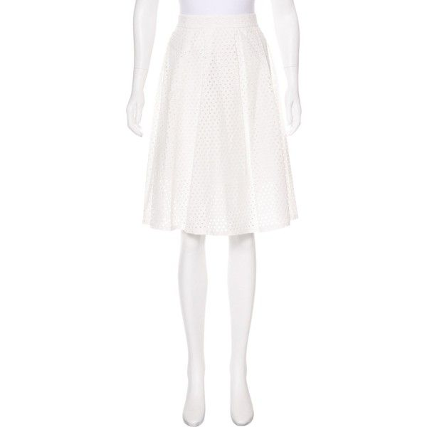 Pre-owned Lela Rose Eyelet Pleated Skirt ($75) ❤ liked on Polyvore featuring skirts, white, white eyelet skirt, knee length pleated skirt, lela rose, knee high skirts and white knee length skirt