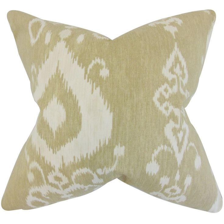 Katti Ikat Feather Filled Jute Throw Pillow (18-inch), Brown, Size 18 x 18