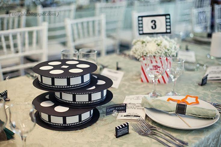 Bobine de film : une super décoration de table pour un mariage sur le thème du…