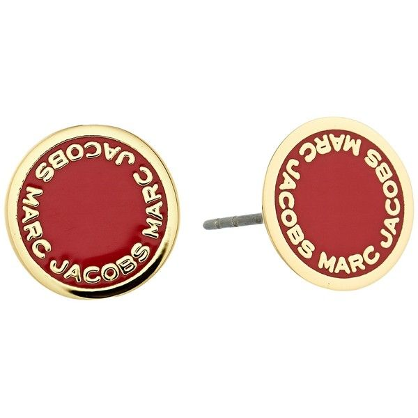 Marc Jacobs Logo Disc Enamel Studs Earrings (Bisou Red) Earring ($50) ❤ liked on Polyvore featuring jewelry, earrings, bullet earrings, enamel jewelry, red enamel earrings, circle stud earrings and red jewelry