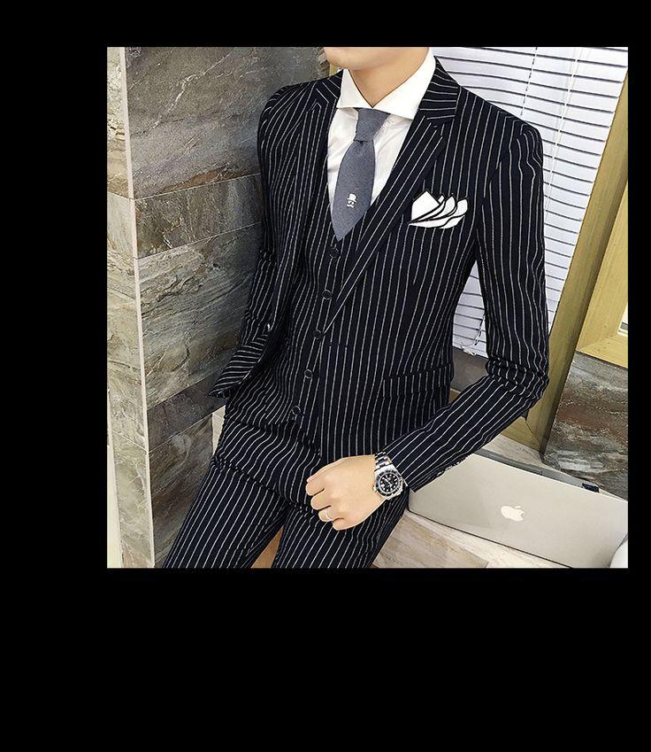 Мужская Полосатый Костюм 2016 Осень Зима Свадьба Жених Костюм Черный Серый в Полоску Бизнес Формальный Костюм Костюм Homme Mariage Серый Смокинг купить на AliExpress
