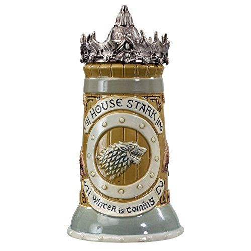 Game of Thrones House Stark Stein - 22 Oz Ceramic Base with Pewter Baratheon Crown Top