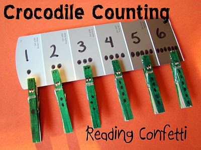 addressing a number of skills.: Counting Crocodile, Crocodiles, Preschool Math, Reading Confetti, Number Recognition, Through, Crocodile Counting, Teaching Numbers