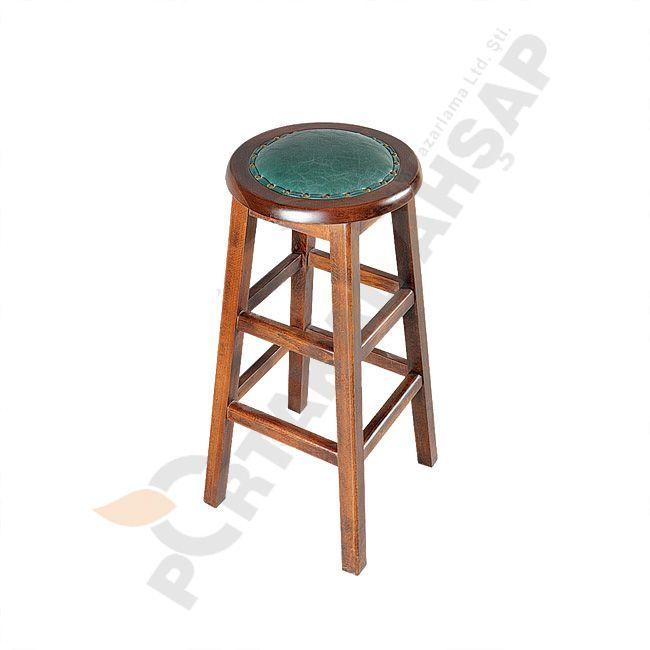 Bar Tipi Ahşap Sandalye - Portakal Ahşap