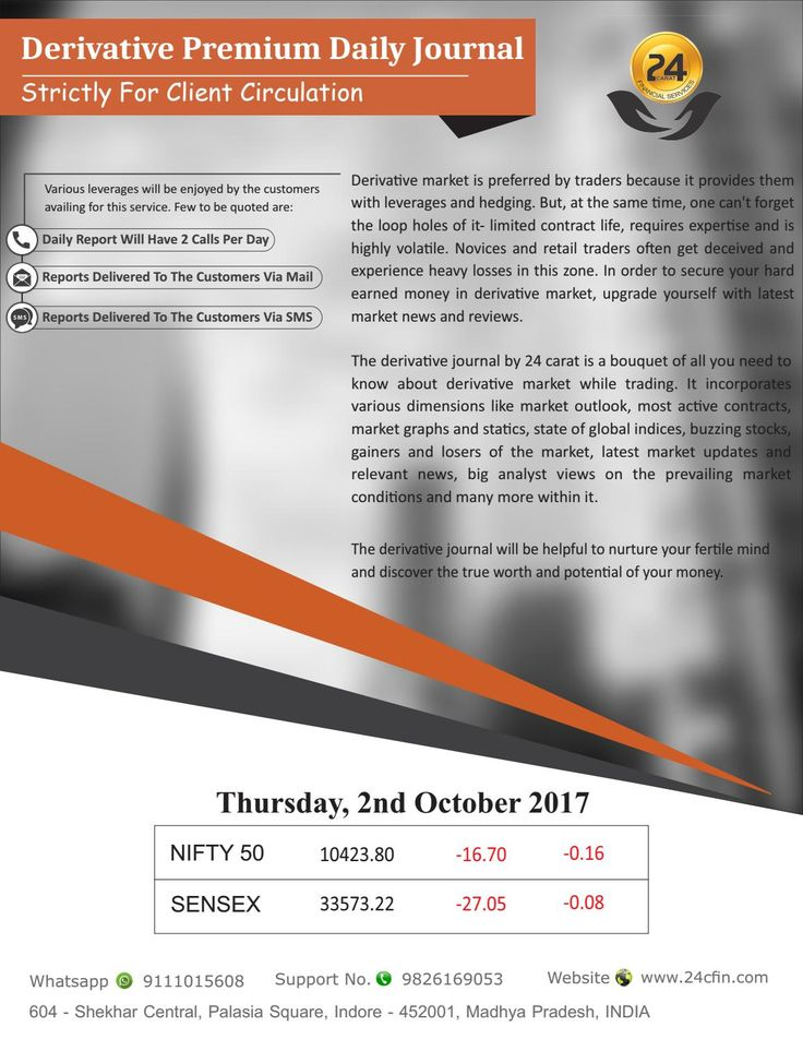 Derivative premium daily journal 2nd nov 2017, thursday