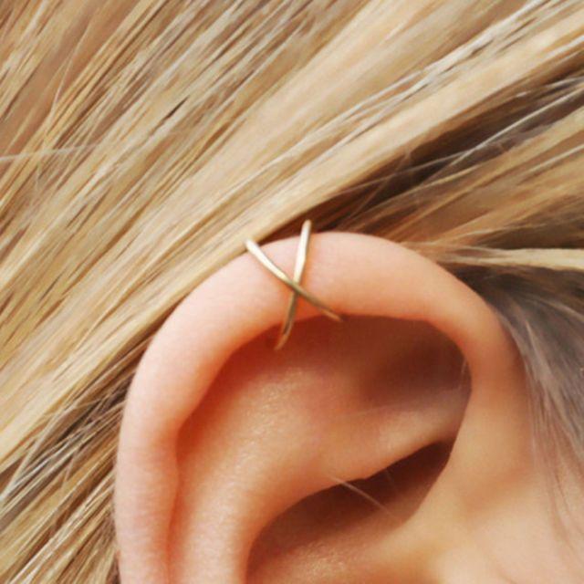 Double cross faux ear cuff