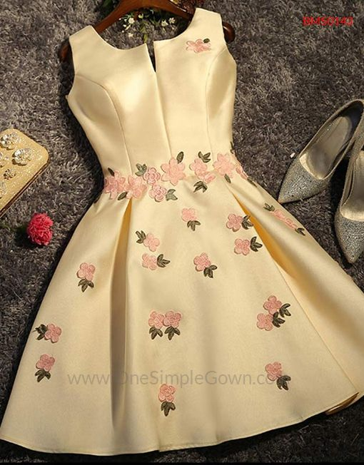 RM199 - Light Pink Gray Blue Champagne Satin Flowers Bridesmaid Dress - OneSimpleGown.com  details : http://bit.ly/BMS0143