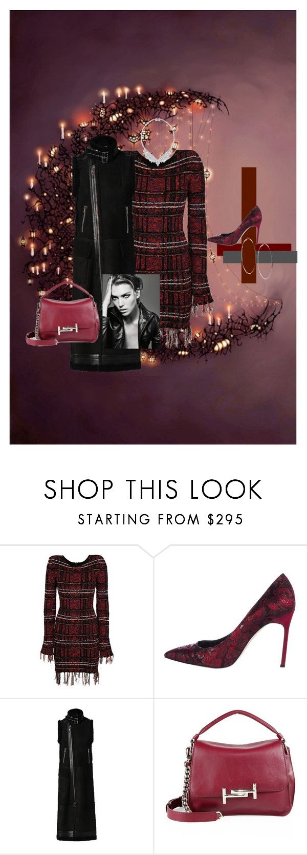 """""""Tweed Dress Trend"""" by mkdetail ❤ liked on Polyvore featuring Balmain, Manolo Blahnik, Diesel, Tod's and GUESS"""