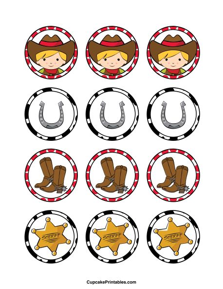 Cowboy cupcake toppers. Use the circles for cupcakes, party favor tags, and more. Free printable PDF download at http://cupcakeprintables.com/toppers/cowboy-cupcake-toppers/
