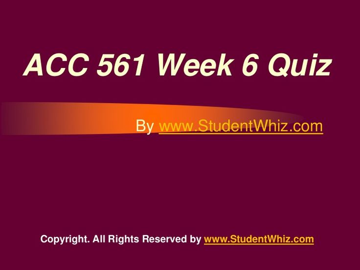 www.StudentWhiz.com provides Latest UOP tutorial courses that would definitely lead you to success. We provide ACC 561 Week 6 quiz or Knowledge Check Question, Answers and lot more.Quiz Answers just a click away http://goo.gl/6hz3HF
