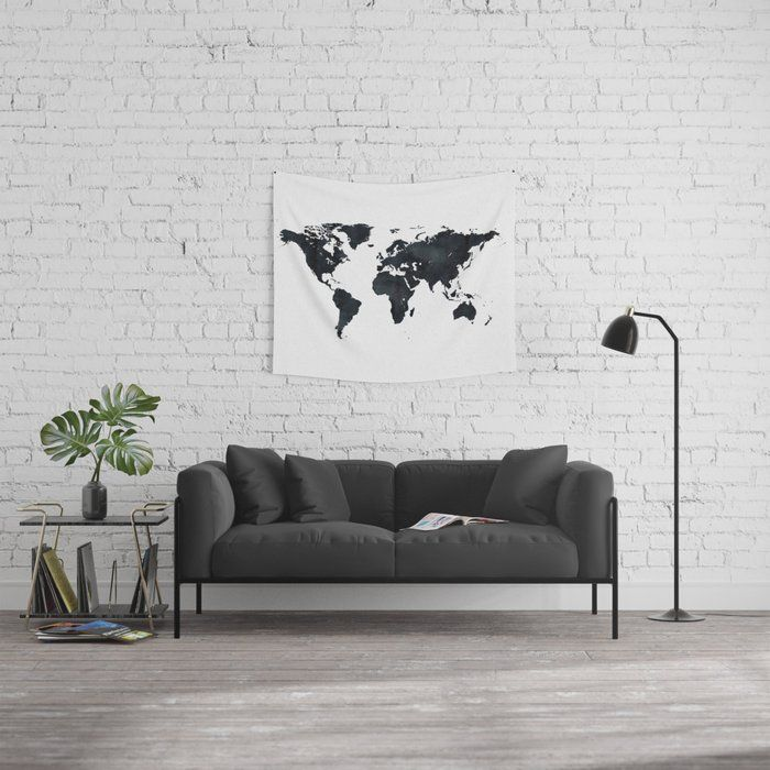 World Map In Black And White Ink On Paper Wall Tapestry Blue