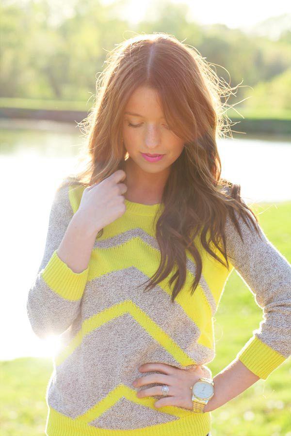 neon + grey chevron sweater: Colors Combos, Grey Sweater, Cute Sweaters, Chevron Sweaters, Pink Lips, Fall Sweaters, Yellow Chevron, Grey Chevron, Neon Yellow
