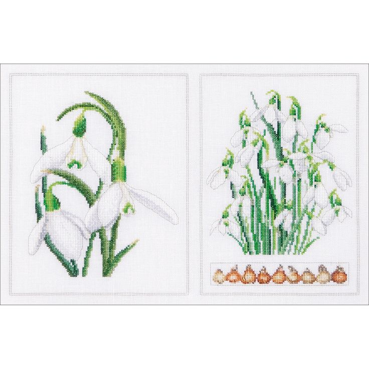 Snowdrops Panel On Aida Counted Cross Stitch Kit13.25inX8.75in 18 Count