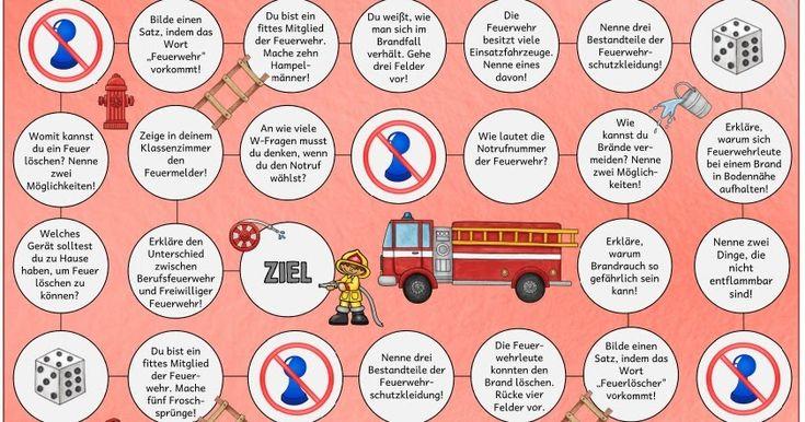 """Lese-Spielfeld zum Thema """"Feuer und Feuerwehr""""  Auch dieses Lese-Spielfeld  mit Fragen rund ums Thema """"Feuer bzw. Feuerwehr"""" ist nun endlic..."""