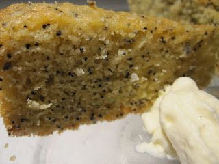 lavender poppyseed cake with an orange blossom honey syrup.