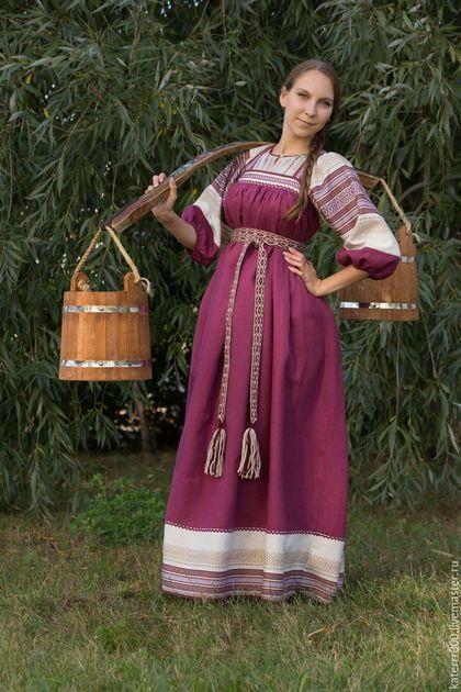 Одежда ручной работы. Ярмарка Мастеров - ручная работа. Купить Народный костюм. Handmade. Брусничный, народный сарафан