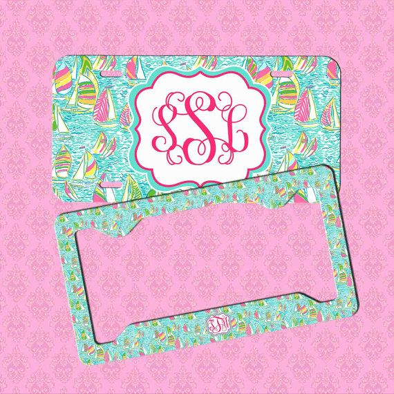 Custom License Plate Frame Monogram Lilly by pinkblossomdesign